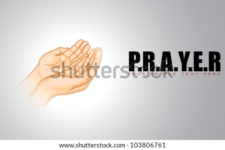 illustration of praying hand on abstract background - stock vector