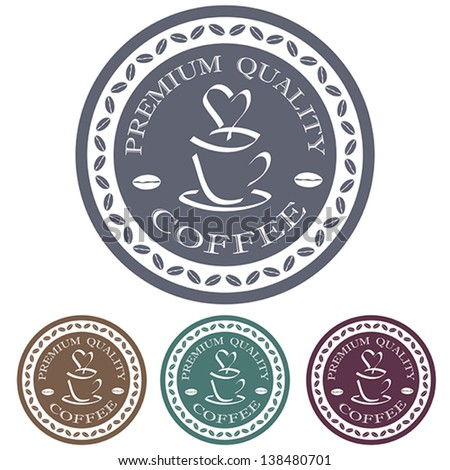 illustration of premium quality coffee label stamp design element.