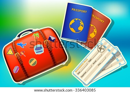 illustration of preparing to travel. suitcase passport and tickets on colorful background - stock vector