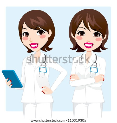 Illustration of pretty professional doctor woman holding tablet device and with arms crossed - stock vector