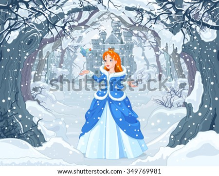 Illustration of princess with bird close to Magic Winter Castle - stock vector