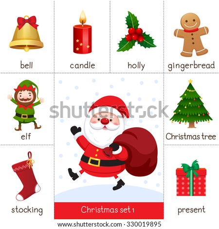 Illustration of printable flash card for Christmas set and Santa Claus - stock vector