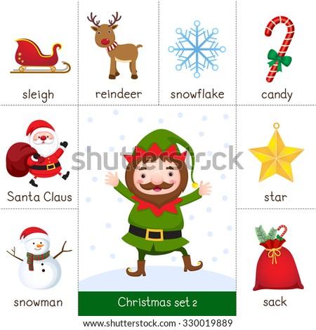 Illustration of printable flashcard for Christmas set and Christmas Elf - stock vector