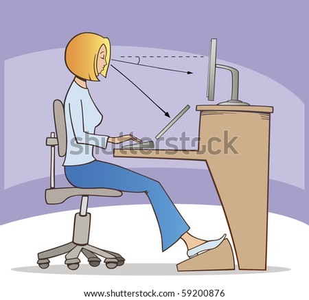 illustration of proper way of working on computer - stock vector