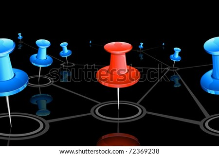 illustration of push pin connected with each other showing networking - stock vector
