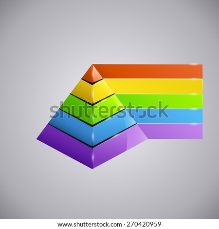 illustration of pyramid diagram with different colors - stock vector