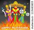 illustration of Raavan Dahan for Dusshera celebration - stock vector