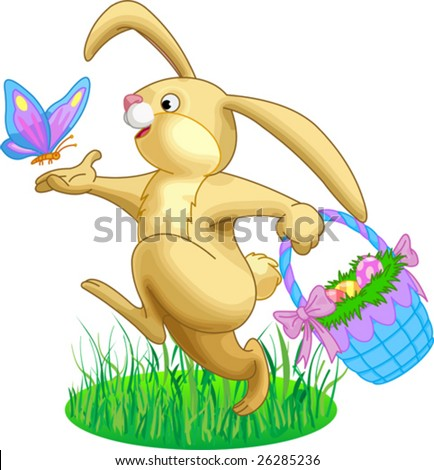 Illustration of rabbit with a basket full of eggs and butterfly