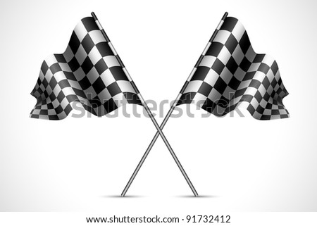 illustration of race flag with checkered texture - stock vector