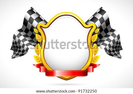 illustration of racing flag with shield and laurel - stock vector