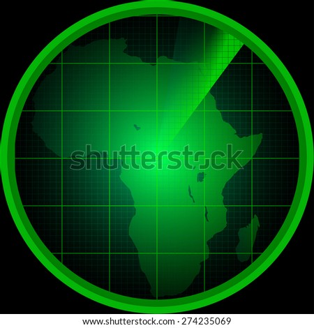 Illustration of radar screen with a silhouette of Africa - stock vector