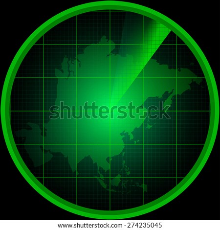 Illustration of radar screen with a silhouette of Asia - stock vector
