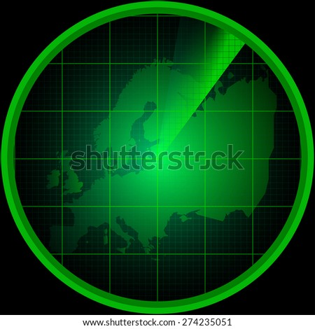 Illustration of radar screen with a silhouette of Europe - stock vector