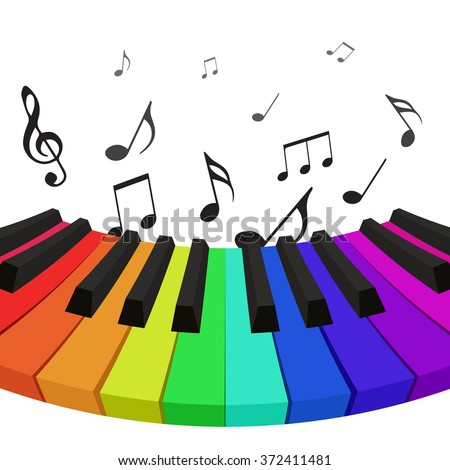 Illustration of rainbow colored piano keys with musical notes. Vector element for your design - stock vector