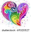 Illustration of Rainbow-colored Swirls Forming the Shape of a Heart - stock vector