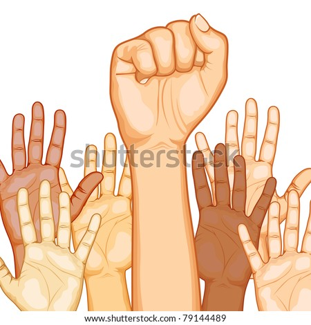 illustration of raised hand of different race with one fist - stock vector