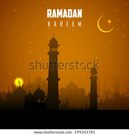 illustration of Ramadan Kareem (Generous Ramadan) background - stock vector