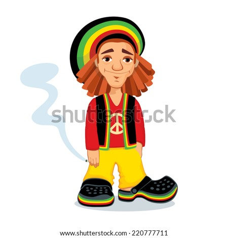Illustration of Rastafarian guy holding a joint - stock vector