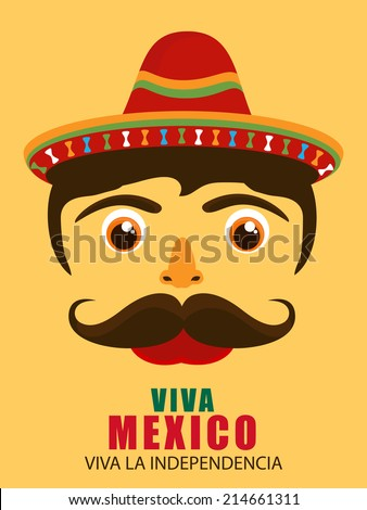 Illustration of raster hispanic man face with sombrero and large mustache - stock vector