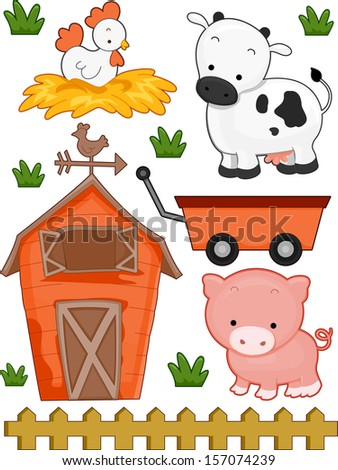 Illustration of Ready to Print Farm-Related Elements - stock vector