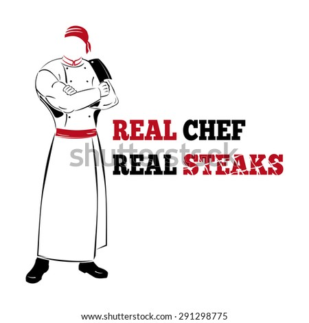 Illustration of real chef, black-white-red - stock vector