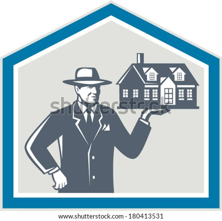 Illustration of real estate salesman sales agent wearing hat holding a house on his hand set inside shiled on isolated background done in retro style. - stock vector