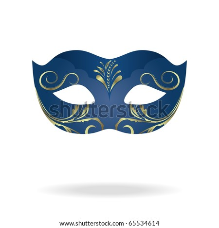 Illustration of realistic carnival or theater mask isolated on white background - vector - stock vector