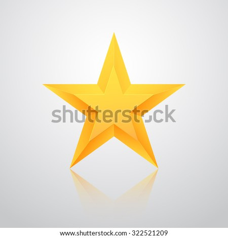 Illustration of Realistic Isolated Gold Star with Reflection Vector Icon