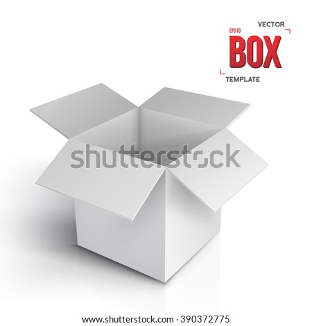 Illustration of Realistic Vector Open Box. Vector EPS10 Paper Box Isolated on White Background - stock vector