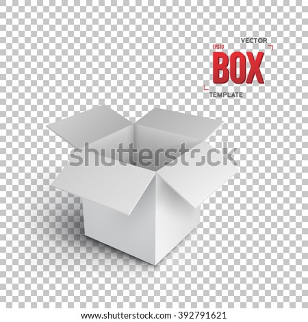 Illustration of Realistic Vector Open Package Box. Vector EPS10 Paper Open Box Isolated on Transparent PS Style Background - stock vector