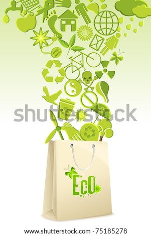 illustration of recycle items coming out of shopping bag - stock vector