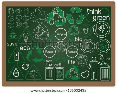 illustration of recycle, reduce, reuse, green concept design icon element collection set written on blackboard background vector, eps10 - stock vector
