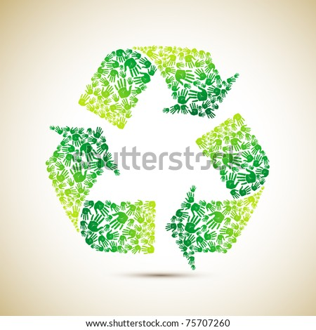 illustration of recycle symbol made of human hand - stock vector