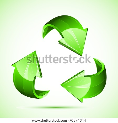 illustration of recycle symbol on isolated white background - stock vector