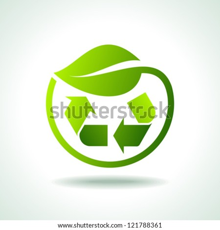 illustration of recycle symbol with leaf icon - stock vector