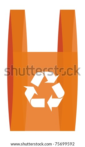 illustration of recycling arrows symbol in red shopping plastic bag. - stock vector