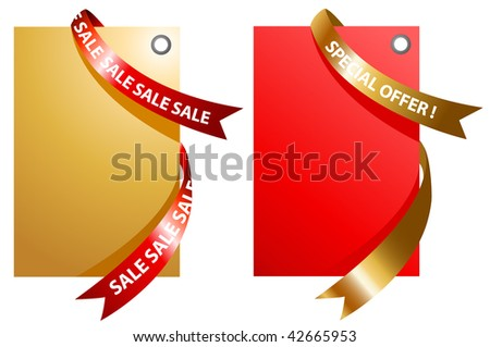 illustration of red and gold signage with ribbon - stock vector