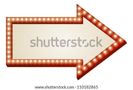 Illustration of red arrow sign with copy space and light bulbs surround - stock vector