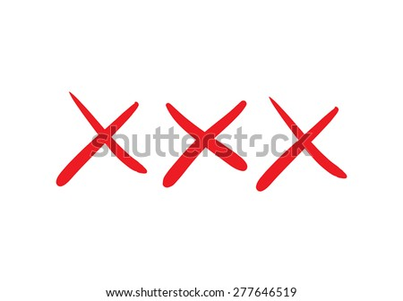 Illustration of red doodle xxx isolated on white background