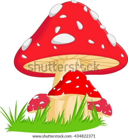 illustration of red mushroom with grass - stock vector