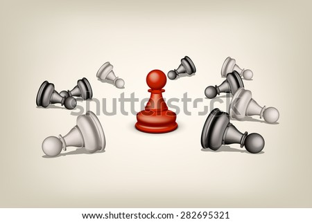 illustration of red pawn and beaten others pawns on grey background - stock vector