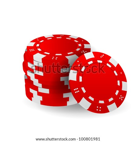 Illustration of Red Poker Chips Isolated on White - stock vector