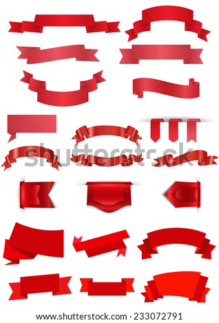 Illustration of red ribbons in various styles  - stock vector