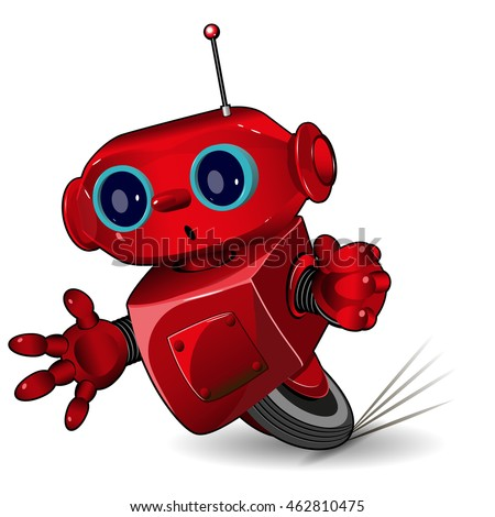 Illustration of red robot in speed in a bend
