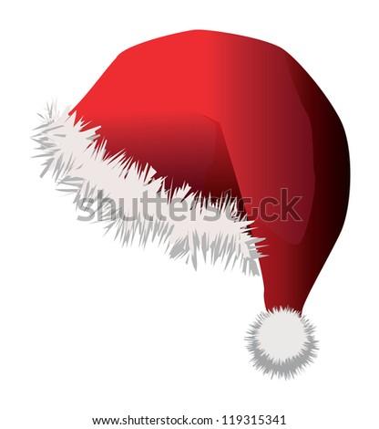 Illustration of red santa hat on white background. - stock vector