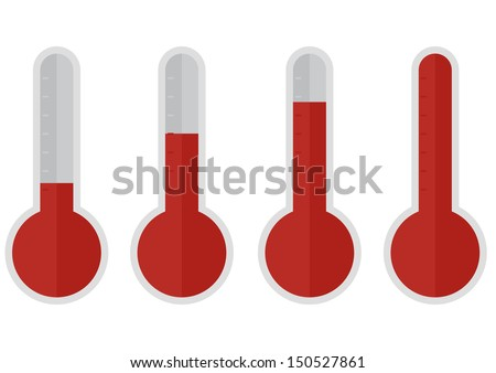 illustration of red thermometers with different levels, flat style