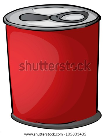 illustration of red tin on a white background - stock vector