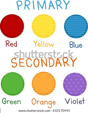 Illustration Of Red Yellow Blue Green Orange And Violet As Primary