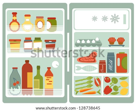 Illustration of refrigerator full of food and drinks - stock vector