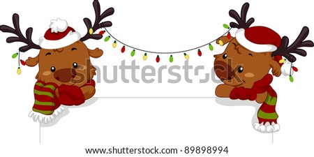 Illustration of Reindeers Leaning on a Piece of Board - stock vector